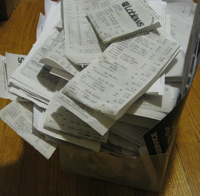 A massive box full of receipts from the past two years.