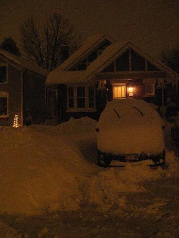 A crazy amount of snow, here it is from the front. This was taken with still another night's worth of snow to fall.