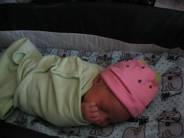 Blueberry swaddled in a pink hat, gorgeous and peaceful at home on day 4.