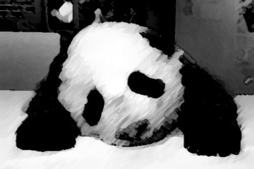 Greyscale and watercolours are both sad on their own. Combined with Sad Panda, and it's now super sad!
