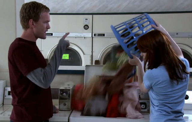Still from Dr. Horrible -- all the laundry dumped in in one bunch.