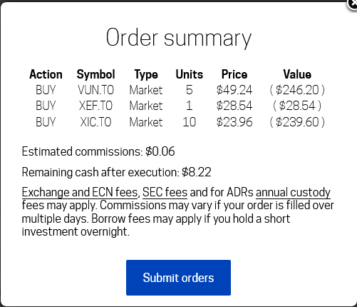 Screenshot of Passiv making a one-click trade setup.